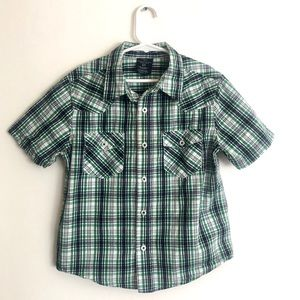 Faded Glory Button Up Short Sleeve Plaid Shirt